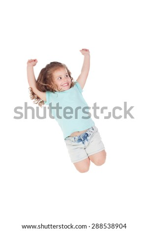Happy little girl jumping isolated on a white background