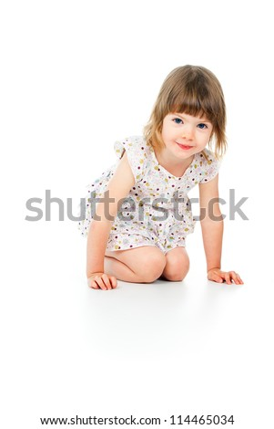 happy little girl laughing - stock photo
