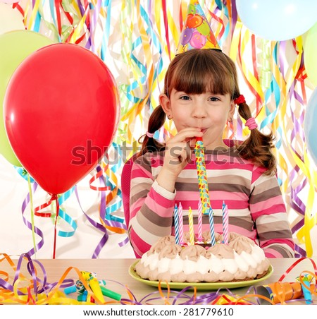 happy little girl on birthday party - stock photo