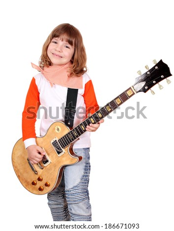 happy little girl play electric guitar