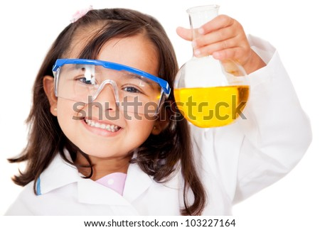 Happy little girl playing at the lab - isolated over white - stock photo
