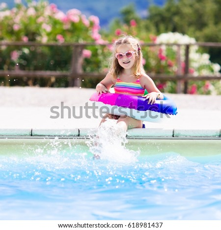 Little girl swimsuit stock images royalty free images - Swimming pool girl christmas vacation ...