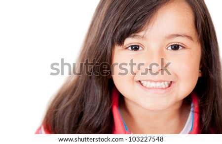 Happy little girl smiling - isolated over a white background - stock photo