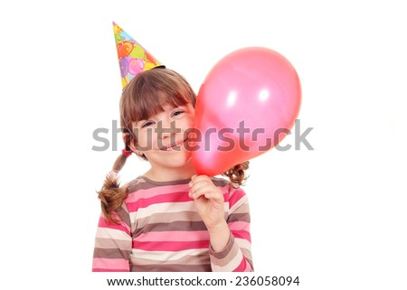 happy little girl with balloon birthday party - stock photo