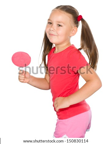 Happy little girl with big lollipop, isolated over white
