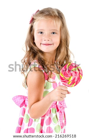 Happy little girl with lollipop isolated on white - stock photo