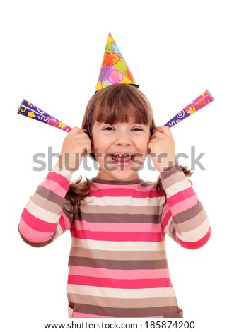 happy little girl with trumpets and hat birthday party