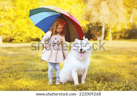 Happy little girl with umbrella walking with dog in warm sunny day - stock photo