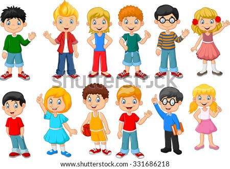 Happy little kids collection set. isolated on white background  - stock photo