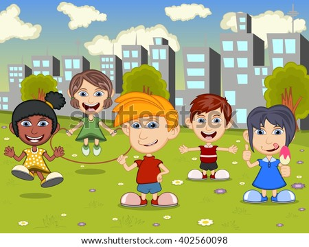 Happy little kids playing on the city playground cartoon image illustration - stock photo
