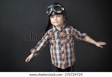 Happy little pilot - stock photo