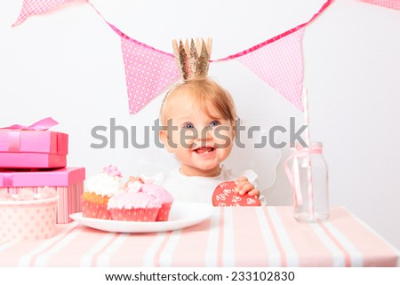 happy little princess at pink girls party - stock photo