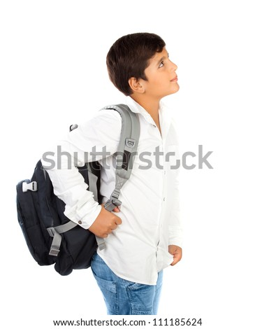 Happy little schoolboy smiling, beautiful preteen boy isolated on white background, back to school, cute schoolchild standing with backpack, smart teenager thinking and looking up, education concept
