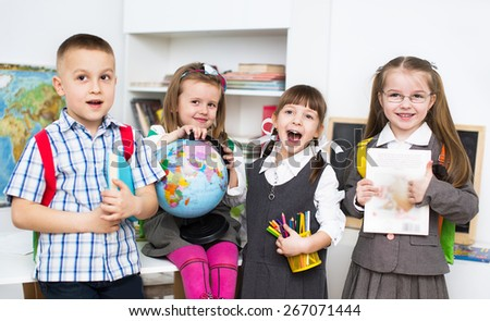 happy little schoolchildren - stock photo