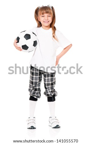 Happy little schoolgirl with soccer ball, isolated on white background - stock photo