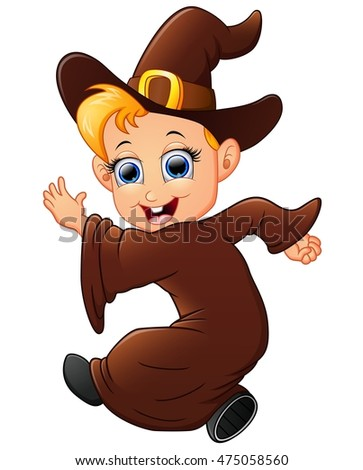Happy little witch cartoon walking