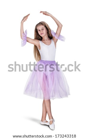 Happy little young beautiful dancer girl posing in white dress ballerina isolated on white background. Studio shooting - stock photo