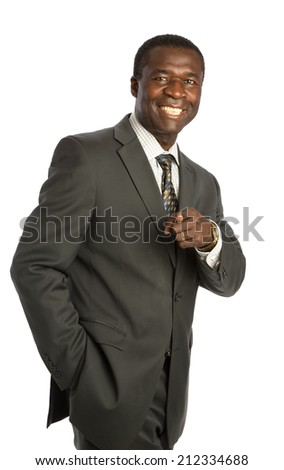 Happy Looking Mid Age African American Male Model on Isolated Background - stock photo