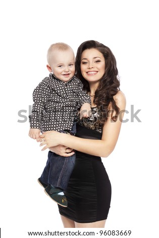 Happy love family with child - beautiful mother hug her son, posing on white background in studio closeup - stock photo
