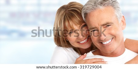 Happy Loving couple close up. Healthy white smile. - stock photo