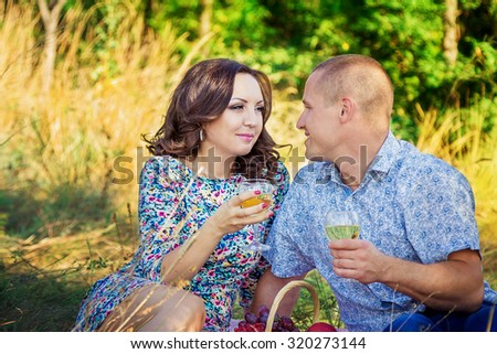 Happy loving couple drinking wine at picnic in a park sitting on the grass  - stock photo