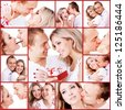 Happy loving  couple kisses, hugging, touching each other. Valentine day - stock photo