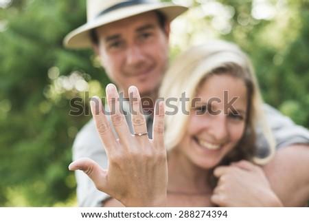 Happy loving couple on engagement day - stock photo