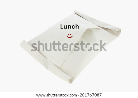 Happy lunch paper bag  isolated on white with clipping path