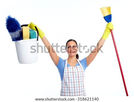 Happy maid woman with broom. House cleaning service concept. - stock photo