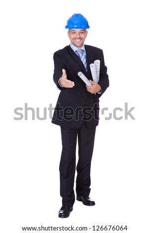 Happy Male Architect Offering Handshake On White Background