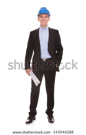Happy Male Architect Standing Over White Background