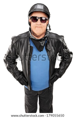 Happy male biker looking at the camera isolated on white background - stock photo