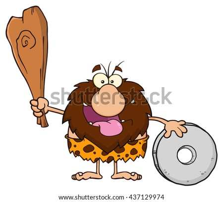 Happy Male Caveman Cartoon Mascot Character Holding A Club And Showing Wheel. Raster Illustration Isolated On White Background - stock photo