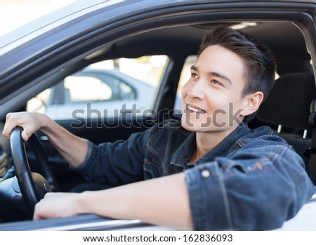 Happy male driver
