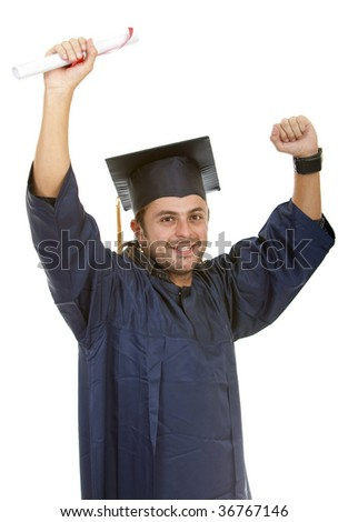 Happy male graduate isolated over a white background - stock photo