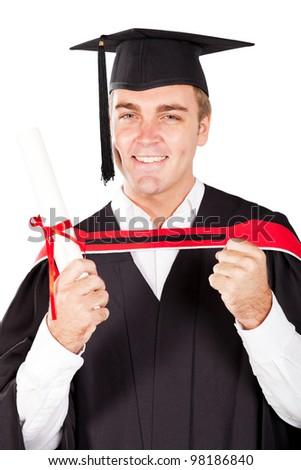 happy male graduate on white background - stock photo