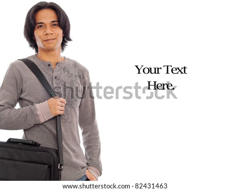 Happy Male with Messenger Bag - stock photo