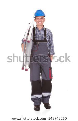Happy Male Worker With Ladder Over White Background - stock photo