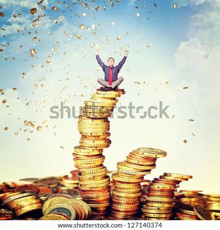 happy man and money rain - stock photo