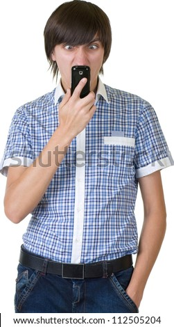 Happy man answering the phone - stock photo
