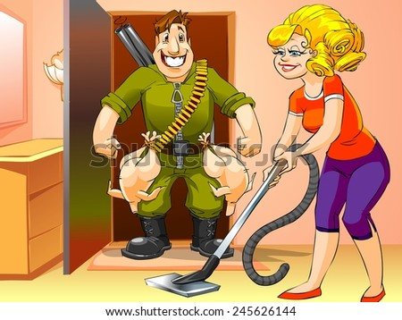 happy man came home from the hunt, woman with vacuum cleaner, cartoon illustration - stock photo