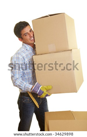 Happy man carrying two boxes