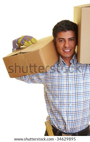Happy man carrying two boxes on his shoulders - stock photo