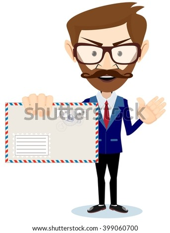 Happy Man Delivering Mail Over White Backgroun. Stock illustration - stock photo