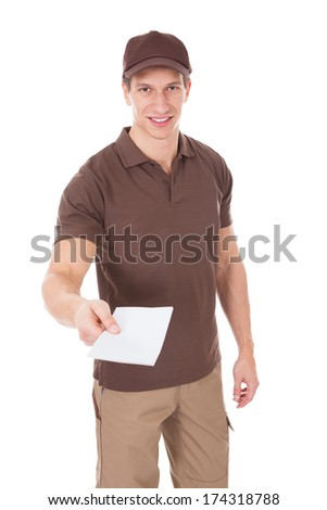 Happy Man Delivering Mail Over White Background - stock photo