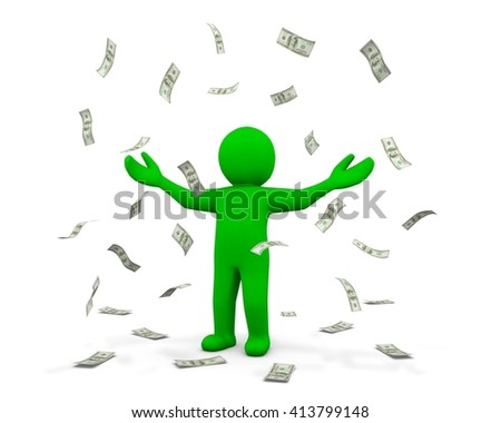 Happy man enjoying the rain of money 3d rendering