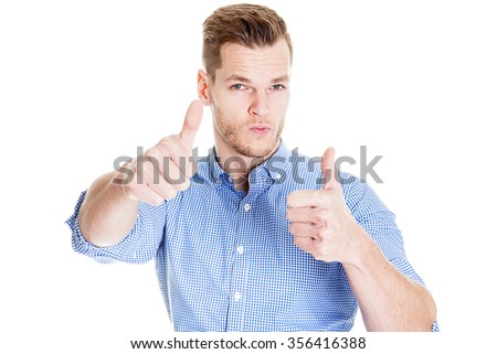 Happy man giving with both hands the thumbs up sign on the portrait on white background - stock photo