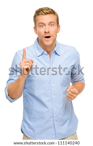 Happy man Has an idea portrait on white background - stock photo