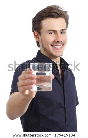 Happy man holding a glass with fresh water isolated on a white background - stock photo