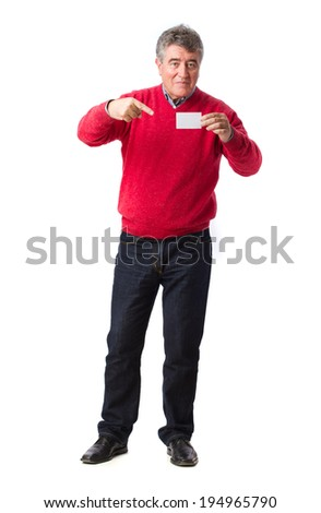 Happy man holding a name card - stock photo